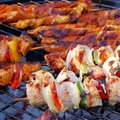Barbecue shashlik on the grill Stock Photo