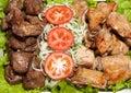 Barbecue, shish kebab from chiken and pork Royalty Free Stock Photo