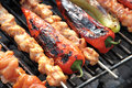Barbecue shish kebab and grilled peppers bbq close up image Royalty Free Stock Photography