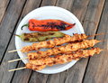 Barbecue shish kebab and grilled peppers bbq close up image Stock Image