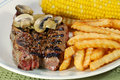 Barbecue short ribs with french fries and vegetable Stock Image