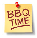 Barbecue sign office note saying bbq time on a white background with a red thumb tack as a leisure activity symbol of cooking meat Stock Image
