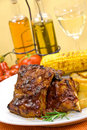 Barbecue spare ribs from a grill Royalty Free Stock Photo