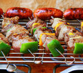 Barbecue on terrace bbq with selection of meat electric bbq grill Royalty Free Stock Photo