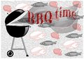Barbecue time abstract background with meat fish and chicken Stock Images