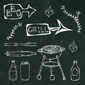 Barbecue Tools: BBQ Fork, Tongs, Grill with Meat, Fire, Beer Bottle, Can, Ketchup, Herbs. on a Black Chalkboard Royalty Free Stock Photo
