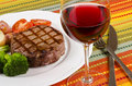 Barbecued Beef Steak and a Glass of Red Wine #5 Royalty Free Stock Photo