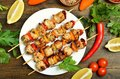 Barbecued chicken kebab Royalty Free Stock Photo