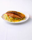 Barbecued salmon with vegatable on a plate Stock Photos