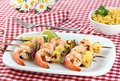 Barbecued Shrimp Kabobs Royalty Free Stock Photo
