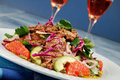 Barbecued steak salad and wine Royalty Free Stock Photo