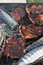 Barbecuing mackerel and red meat on charcoal fire closeup image. Royalty Free Stock Photo