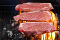 Barbecuing strip loin steaks Stock Image