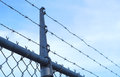 Barbed fence metal industrial protection jail fencing Royalty Free Stock Photo