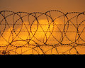 Barbed Perimeter Fence Royalty Free Stock Images