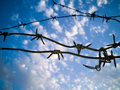 Barbed wire against the sky with clouds Royalty Free Stock Photo