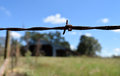 Barbed wire and fence in front of field Royalty Free Stock Photo