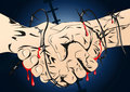Barbed wire handshaking illustration background Stock Photography