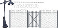 Barbed wire and street lantern grey gate with a pricking Stock Image