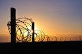 Barbed wire in the sunset Royalty Free Stock Photo
