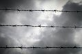 Barbed wire three lines of against a cloudy sky Royalty Free Stock Photo
