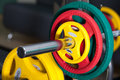 Barbells gym equipment colored Royalty Free Stock Image