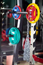 Barbells gym equipment colored Royalty Free Stock Images