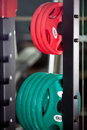Barbells gym equipment colored Stock Photos