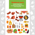 Barbeque color icons set for web and mobile design Royalty Free Stock Photo
