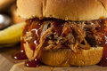 Barbeque pulled pork sandwich with bbq sauce and fries Royalty Free Stock Images