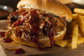 Barbeque pulled pork sandwich with bbq sauce and fries Stock Image
