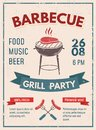 Barbeque retro poster with grunge effect. BBQ party invitation d