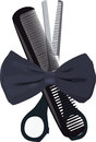 Barber equipment comb and scissors for cutting hair Stock Photos