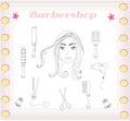 Barber and hairdresser doodle set illustration Stock Photography