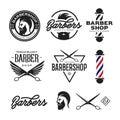 Barber Shop Badges Set. Vector...