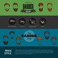 Barber Shop or Hairdresser background set with hairdressing scissors, shaving brush, razor, comb for man salon vector
