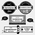 Barber shop old fashioned signs vector collection