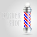 Barber shop pole with red and blue stripes Royalty Free Stock Image