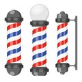 Barber shop poles with stripes isolated on white background. Barbershop sign, hairdresser symbol in flat style.