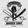 Barber shop vintage label, badge, or emblem with scissors, hair clipper and razors on gray background. Haircuts and shaves. Royalty Free Stock Photo