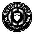 Barber shop vintage retro vector logo. Black and white illustration