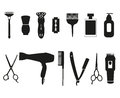 Barber tools and haircut icons set.