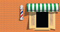 Barbershop ancient symbol of a barber shop on a brick wall vector illustration Royalty Free Stock Image