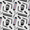 Barbershop background, seamless pattern with hairdressing scissors, shaving brush, razor, comb, hipster face and barber pole.