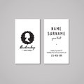 Barbershop business card design concept barbershop logo badge with bun hair style woman profile vintage hipster and retro style Royalty Free Stock Image