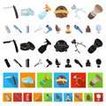 Barbershop and equipment cartoon icons in set collection for design. Haircut and shave vector symbol stock web Royalty Free Stock Photo