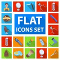 Barbershop and equipment flat icons in set collection for design. Haircut and shave vector symbol stock web illustration Royalty Free Stock Photo