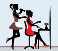 Barbershop female silhouette in hairdressing salon hairdresser makes hair styling for client Stock Photos