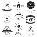 Barbershop (hair salon) logo vintage vector set. Hipster and retro style. Royalty Free Stock Photo