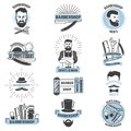 Barbershop logo vector barber cuts male haircut and barbed mustache of bearded man with razor in hipster salon on